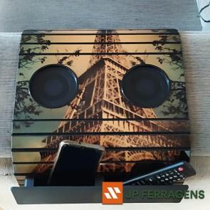 Esteira Bandeja Porta Copos para Braço de Sofá - Torre Eiffel