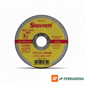DISCO ABRASIVO DE CORTE STARRETT DAC115-14 115X1,0X22,2MM